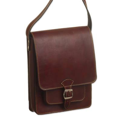 Andean Leather Crossbody Messenger Bag from Peru