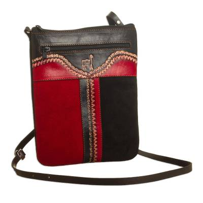 Leather sling, 'Cusco Llama' - Llama-Themed Red and Black Suede Leather Sling from Peru'