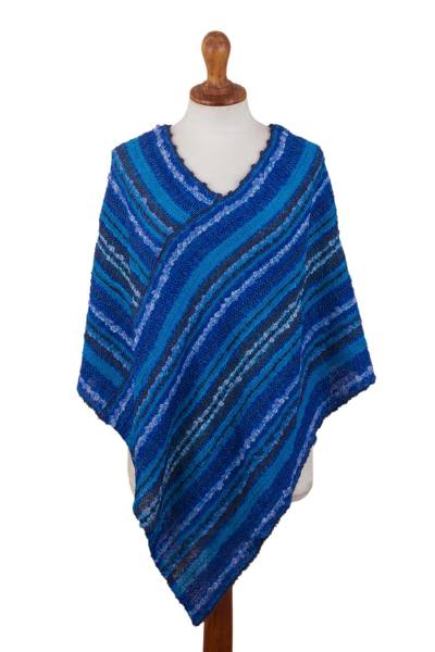Hand Woven Blue Baby Alpaca Blend Poncho from Peru