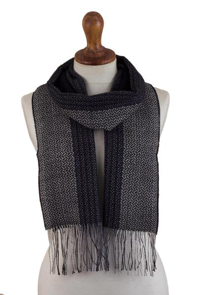 100% alpaca scarf, 'Night Wolf' - Unisex 100% Alpaca Scarf