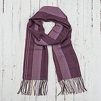Baby alpaca blend scarf, 'Sunset Mauve' - Purple Shades Handwoven Baby Alpaca Blend Scarf from Peru