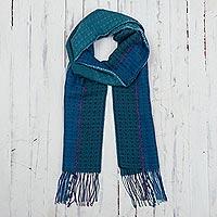 Baby alpaca blend scarf, 'Peacock Path' - Teal Patterned Baby Alpaca Blend Scarf