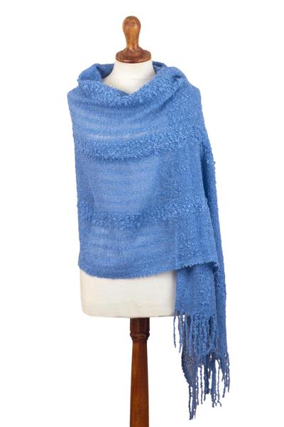 Alpaca blend shawl, 'Magic Morning' - Hand Woven Cerulean Baby Alpaca Blend Shawl from Peru