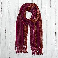 Baby alpaca blend scarf, 'Andean Mountain' - Vibrant Colored Andean Baby Alpaca Blend Scarf from Peru