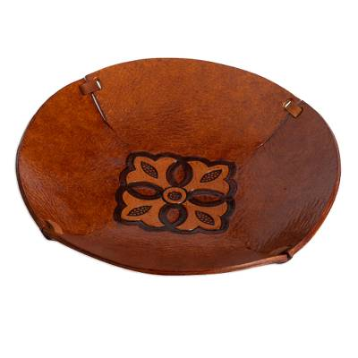 Brown Hand Tooled Leather Catchall Plate from Peru