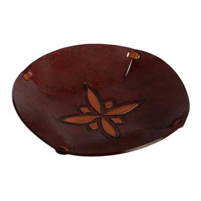 Star Motif Hand Tooled Brown Leather Catchall from Peru
