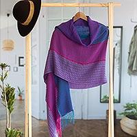Baby alpaca blend shawl, 'Violet Sunsets' - Hand Woven Alpaca Blend Jacquard Shawl Scarf from Peru