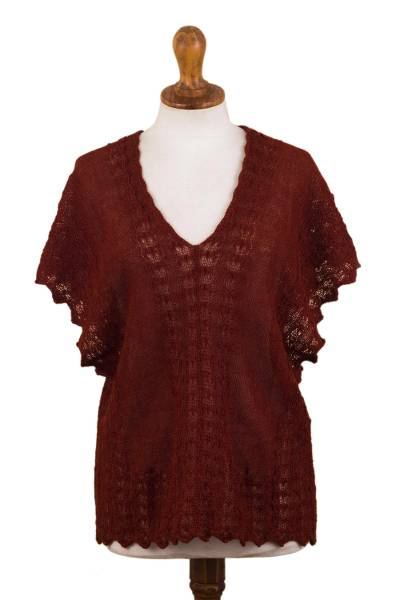Baby Alpaca Blend Knit Batwing Sleeve Poncho from Peru