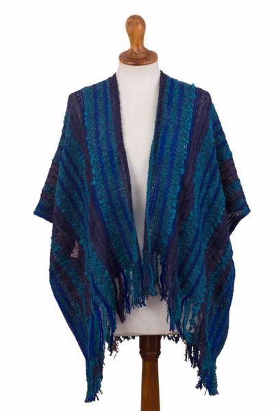 Baby alpaca blend capelet, 'Currents' - Hand Loomed Baby Alpaca Blend Capelet