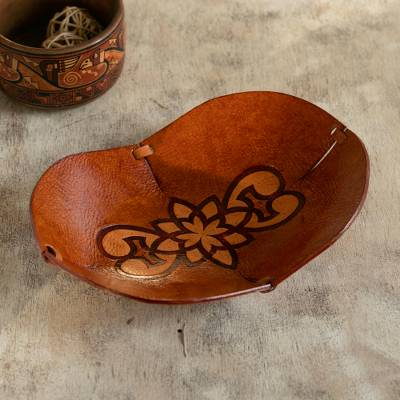 Leather catchall, 'Floral Illusion' - Hand Crafted Leather Catchall with Floral Design from Peru