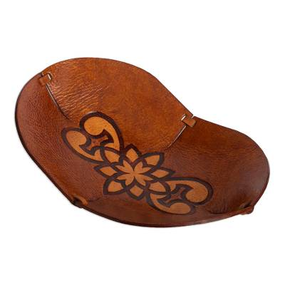 Hand Crafted Leather Catchall with Floral Design from Peru