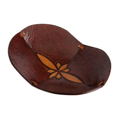 Hand Tooled Leather Catchall Plate from Peru
