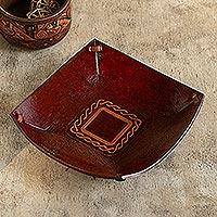 Tooled leather catchall, 'Celtic Magic'