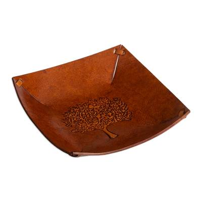 Squared Brown Hand Tooled Leather Catchall from Peru