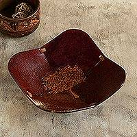 Leather catchall, 'Blooming Tree'
