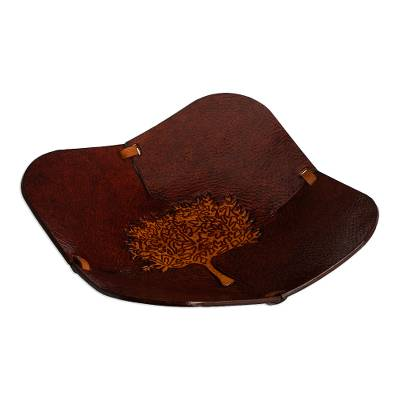 Brown Tree Motif Hand Tooled Leather Catchall from Peru