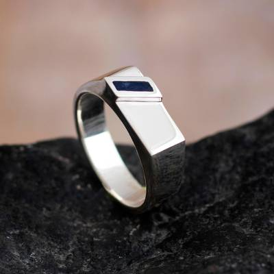 Men's sodalite signet ring, 'Ultramarine' - Men's 925 Sterling Silver and Sodalite Ring from Peru