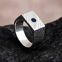 Men's sodalite signet ring, 'Blue Vision' - Men's Sterling Silver and Sodalite Geometric Ring from Peru