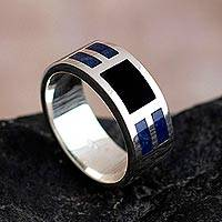 Men's sodalite and obsidian band ring, 'Nocturno' - Men's Sterling Silver, Obsidian and Sodalite Ring from Peru