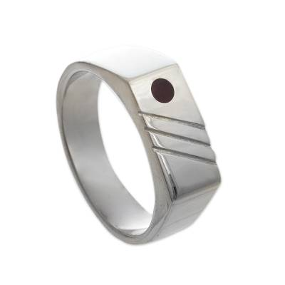 Men's carnelian signet ring, 'Orange Vision' - Men's Sterling Silver and Carnelian Geometric Ring from Peru