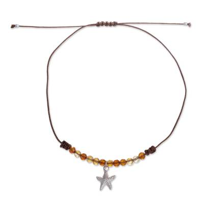 Handmade Agate Beaded Anklet with Starfish from Peru