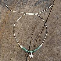 Agate anklet, 'Starfish Dream' - Handmade Agate Anklet with Starfish Pendant from Peru