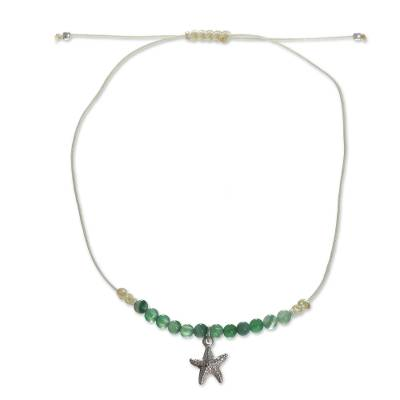 Handmade Agate Anklet with Starfish Pendant from Peru