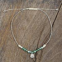 Agate anklet, 'Green Treasure' - Anklet with Agate Beads and Shellfish Pendant from Peru