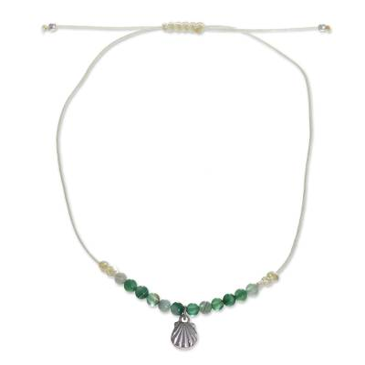 Anklet with Agate Beads and Shellfish Pendant from Peru