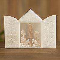 Alabaster nativity scene sculpture, 'Sacred Nativity' - Huamanga Alabaster Nativity Scene from Peru