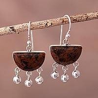 Obsidian chandelier earrings, 'Universe in Brown' - Sterling Silver Brown Obsidian Chandelier Earrings from Peru