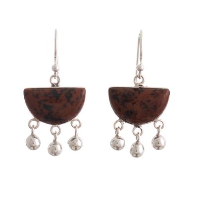 Sterling Silver Brown Obsidian Chandelier Earrings from Peru