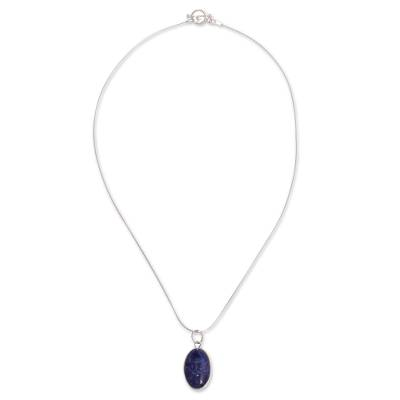 Sodalite pendant necklace, 'Captivating Color' - Andean Sodalite Necklace Handcrafted of Sterling Silver