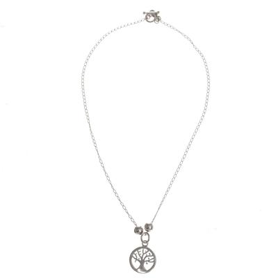 Sterling silver pendant necklace, 'Prosperity Tree' - 925 Sterling Silver Tree Pendant Necklace from Peru
