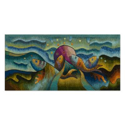 Textured Ocean-Themed Tapestry from Peru