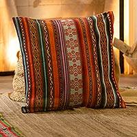 Alpaca blend cushion cover, 'Andes Rainbow'