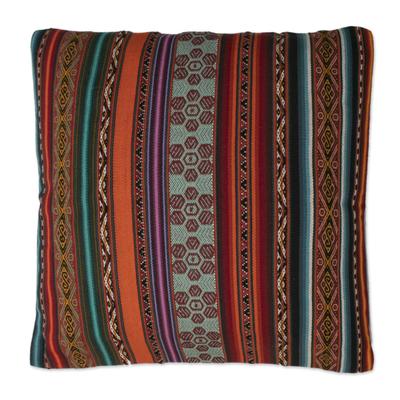 Alpaca blend cushion cover, 'Andes Rainbow' - Alpaca Blend Hand Woven Cushion Cover from Peru