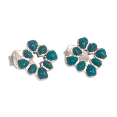 Andean Silver and Chrysocolla Stud Earrings from Peru
