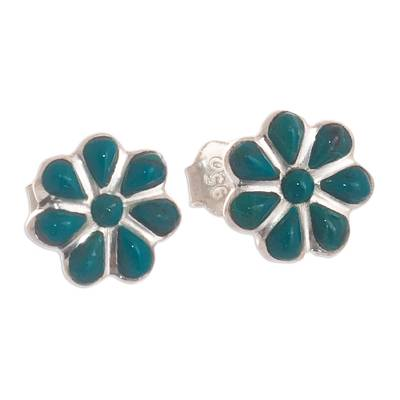Flower-Shaped Silver and Chrysocolla Stud Earrings from Peru