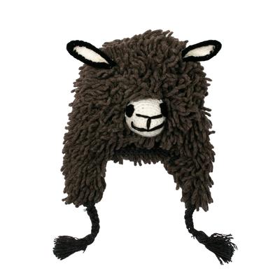 Furry Dark Grey Llama Wool Blend Beanie Hat from Peru