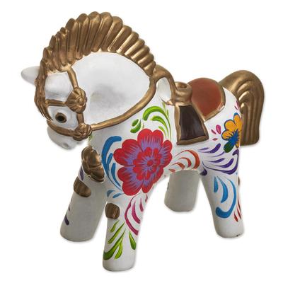 Hand Painted Ceramic Pucara Horse Figurine from Peru