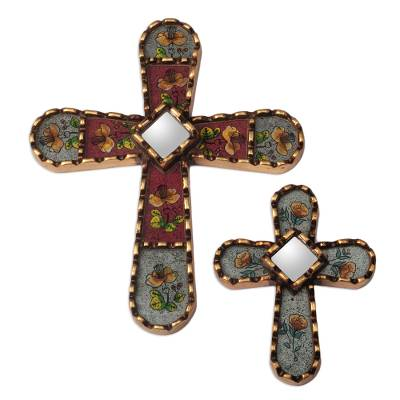 Reverse-Painted Wall Crosses from Peru (Pair)