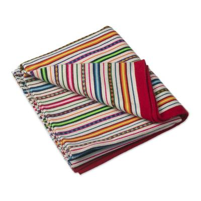 Multicolored Striped Throw Blanket from Peru
