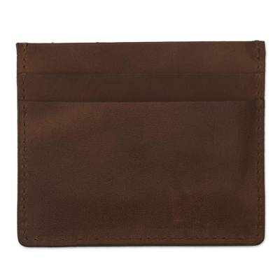 Four Slot Camel Brown Leather Card Holder from Peru