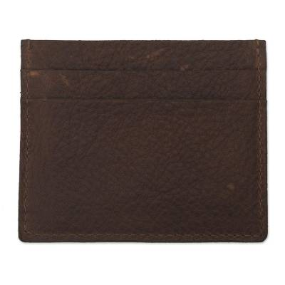 Four Slot Mahogany Brown Leather Card Holder from Peru