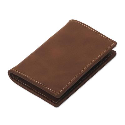 Six Card Slot Bi-Fold Brown Leather Wallet from Peru