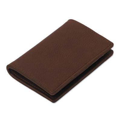 Six Card Slot Dark Brown Bi-Fold Leather Wallet from Peru