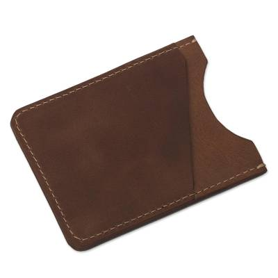 Two Slot Camel Brown Leather Card Holder from Peru