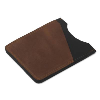 Three Slot Camel and Black Leather Card Holder from Peru
