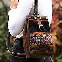 Leather and wool backpack, 'Inca Treasure' - Hand Loomed Wool and Leather Backpack